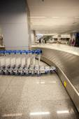 Photo of row of luggage trolleys and baggage claim line — Stock Photo