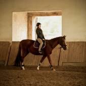 Woman jockey doing training at indoor arena — Stock fotografie