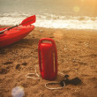 Red lifeguard equipment on beach at sunny day — Stock Photo #58640215
