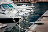 View of white yachts moored at wharf — Stock Photo