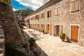 View of narrow street at old city of Budva, Montenegro — Stock Photo