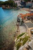 Seaside old castle at city Budva located on high cliff — Stock Photo