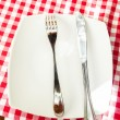 Metal fork and knife lying on white plate at checkered red cloth — Stock Photo #58981353