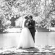 Full length portrait of kissing bride and groom at park near the — Stock Photo #59668317