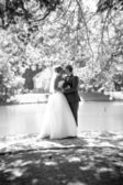 Full length portrait of kissing bride and groom at park near the — Stock Photo