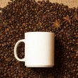 White mug against of coffee background with star anise — Stock Photo #62573779