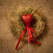 Decorative red heart on stick with ribbon in nest — Stock Photo #62574415