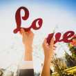 "Conceptual photo of man and woman holding halves of ""Love"" sign — Stock Photo #62830245"
