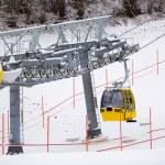 Ski lift cabin on the ski slope at Austrian Alps — Stock Photo #64645277