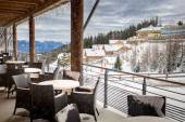 Terrace covered by snow at ski resort restaurant — Foto Stock