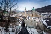 View from the funicular on the city of Salzburg at cloudy day — Stock Photo