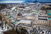 View from Hohensalzburg castle on city of Salzburg — Stock Photo