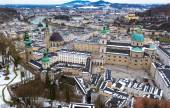 Aerial view on old cit Salzburg at cloudy day — Stock Photo