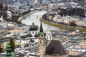River Salzach in Salzburg at cold winter day — Stock Photo