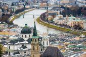 Aerial view of river Salzach in Salzburg, Austria — Stock Photo