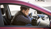 Portrait of shocked male driver closing face with hands — Fotografia Stock