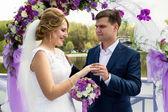 Handsome smiling groom putting ring on brides hand — Foto de Stock