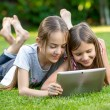 Cute girls relaxing on grass at park and using digital tablet — Stock Photo #75944227