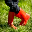 Closeup of girl in red rubber boots posing on fresh green grass — Stock Photo #75944709