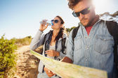 Couple on country walk together — Stock Photo