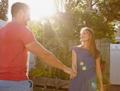 Beautiful young couple in love - Outdoors — Stock Photo