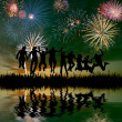 Fireworks in honor of holiday — Stock Photo #78908454