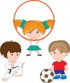 Children play sports — Stock Vector