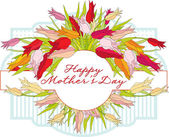 Greeting card with tulips Mothers Day — Vetor de Stock