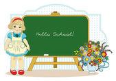 Dívka u školní tabule — Stock vektor