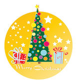 Christmas tree and gifts — Stock Vector
