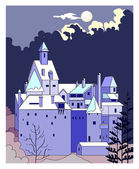 Castle at night — Stock Vector