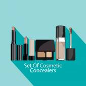 Set of cosmetic concealers style flat. — Stock Vector