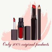 Cosmetics for lips - some lip gloss and lipstick — Vetor de Stock