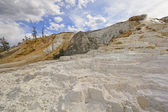 White Travertine Hot Springs on a Sunny Day — Stock Photo
