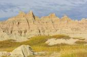 Colorful Badlands Formations Against Stormy Skies — Stock Photo