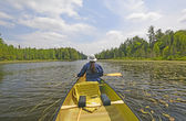 Canoer on a North Woods Lake — Stock Photo