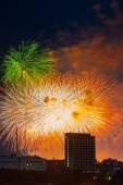 Fogo de artifício sobre moscou. rússia — Fotografia Stock