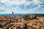 Siena. Image of ancient Italy city, view from the top. Beautiful house and chapel. — Stock Photo