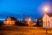 Old russian town landscape with church. View of Suzdal cityscape. — Stock Photo