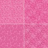 Set of valentine hearts seamless patterns — Vettoriale Stock
