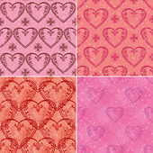 Set of valentine hearts seamless patterns — Stock Vector