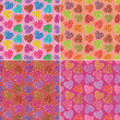 Set of valentine hearts seamless patterns — Stock Photo #52885817