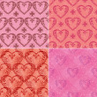 Set of valentine hearts seamless patterns — Stock Photo #52885887
