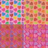 Set of valentine hearts seamless patterns — Stock Photo