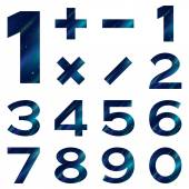 Numbers set, blue space — Stock Vector