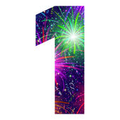 Number of colorful firework, one — Vector de stock