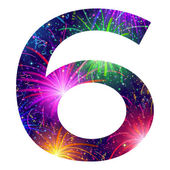 Number of colorful firework, six — Vector de stock