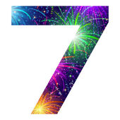 Number of colorful firework, seven — Vector de stock