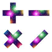 Set of mathematical signs, firework — 图库矢量图片