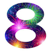 Number of colorful firework, eight — Vector de stock